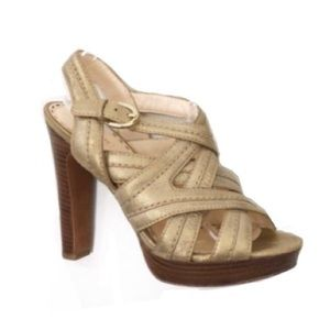 Coach Gold Strappy Heels